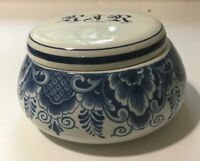 Royal Delft Candy Jar with lid monogrammed with R.J. Reynolds logo