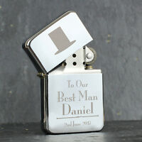 Personalised Engraved Metal Lighters Male Wedding Favour Thank You Gifts Present