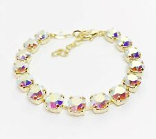Clear AB Crystal Gold Bracelet Statement Tennis Women Birthday Gift Boxed