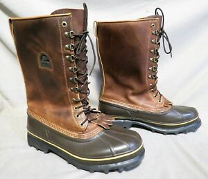 MENS SOREL BROWN LEATHER RUBBER SNOW WINTER HUNTING INSULATED BOOTS SZ 12