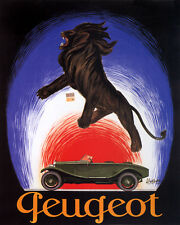 PEUGEOT LION AUTOMOBILE FRENCH CAR CAPPIELLO 8X10 VINTAGE POSTER REPRO FREE S/H