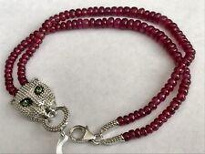 "African Ruby (Rnd),Tsavorite Garnet Panther Bracelet (7.5"")  Platinum On Sterlin"