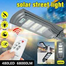 68000LM 480LED Solar Powered Street Light Outdoor Pole Mount Post Lamp IP66 680W