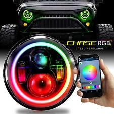 "2x 7"" Round Halo Chasing Color RGB LED Headlights For Jeep JK TJ LJ Wrangler"