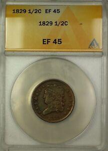 1829 Classic Head Half Cent 1/2c Coin ANACS EF-45
