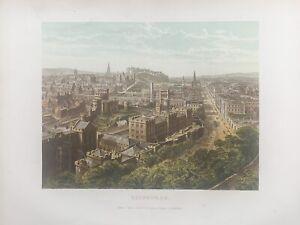 1878  Panoramic Birds-eye View of Edinburgh Original Antique by William Collins