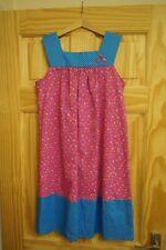 Handmade Filles Fleur rose et bleu Spot à smocks Shift Robe 10 ans