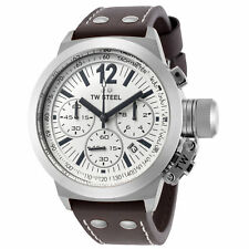 TW Steel CE1007 Men's Canteen Chronograph 45mm White Dial Leather Watch