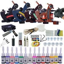 Professional Tattoo Kit 4 Machine Guns 14 Inks Power Supply Complete Tattoo Kits