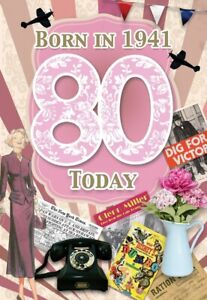 80th Female Birthday - 1941 Year You Were Born Card for Her with Facts - Age 80