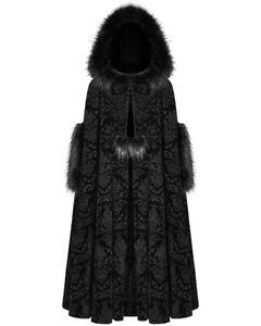Punk Rave Womens Gothic Hooded Cloak Coat Black Velvet Steampunk Damask Faux Fur