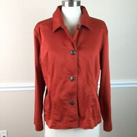 Chico's 2 Womens Top Orange Rust Button Down Long Sleeve Size L