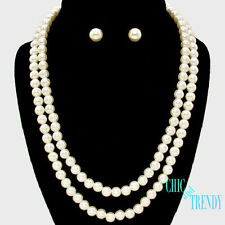 AFFORDABLE OFF WHITE PEARL BRIDESMAID WEDDING FORMAL NECKLACE JEWELRY SET CHIC