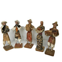 Paper Mache Vintage 5pc set Mexican Folk Art Xalisco Mexico Hand Painted