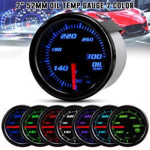 """2"""" 52mm Oil Temp Gauge Temperature Meter 100-300 ℉ 7 Color LED Display w Sensor"""