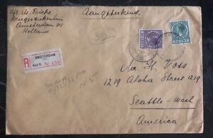 1933 Amsterdam Holland Registered Cover To Seattle Wa USA Via New York