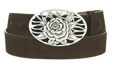 "WOMEN'S SUEDE LEATHER BELT WITH FLORAL ROSE BUCKLE 1-1/2"" WIDE MULTIPLE COLORS"