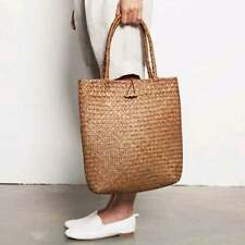 Women Straw Handbag Beach Bag Handmade Knitted Large Shoulder Bag Summer