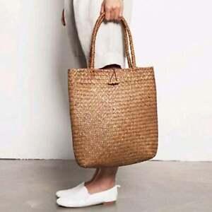 Women Straw Handbag Beach Bag Handmade Knitted Large Shoulder Bag Summer