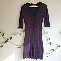 Nougat London Purple Crochet Dress 2 S Lined Sheer Sleeves Cotton Wool Boho