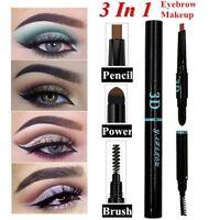 Natural 3 In 1 Eyebrow Pencil Brush+Powder Stick Eye Makeup Eyebrow Enhance