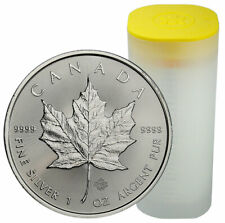 Roll of 25 2020 Canada 1 oz Silver Maple Leaf $5 Coins GEM BU PRESALE SKU59993