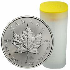 Roll of 25 2020 Canada 1 oz Silver Maple Leaf $5 Coins GEM BU SKU59993