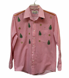 Vintage Studz Connection Christmas Blouse Embroidered Rhinestones Women's M