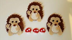 X3 Felt Hedgehog Embellishments. Die cuts . Animal die cuts