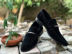 Moccasins and Loafers Formal Mens Real Suede Black Handmade