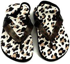 Leopard Spots Flip Flops Toddler Size 4-5 White Black Brown New