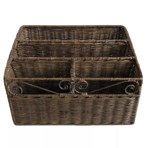 Vintage Wicker Rattan Letter Mail Bill Paper Organizer Basket Tabletop Storage