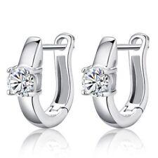 Gemstones Ear Studs Silver Plated Hoop Earrings White Crystal Rhinestone