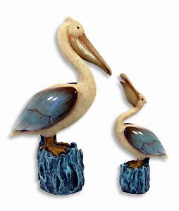 "Hand Painted 11"" Pelican Bird with 7.25"" Baby Statue Figurine Sculpture 98P(S/2)"