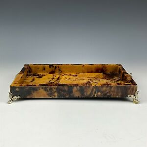Faux Tortoise Shell Lion Mask Ring Face & Footed Paw Lacquered Vanity Tray RMG