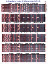 LEFT HANDED E9 SLIDE RULE CHART FOR 8 STRING STEEL GUITAR - LAP PEDAL - LEFTY