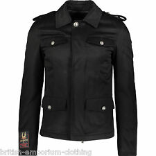 JOHN RICHMOND Black Leather Trimmed Military Jacket BNWT UK36 IT46 Made In Italy