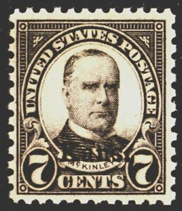 U.S. #665 7c McKinley (1929), black, Kans. Overprint, MH