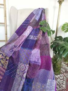 Silk Patchwork Kantha Quilt Indian Patola Bedspread Purple Gudari Bohemian Throw