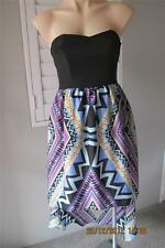 Forever New BNT High Low Diagonal Print Silk Party Dress Strapless Size 6