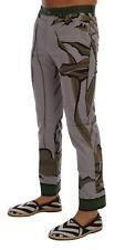 NUEVO DOLCE & GABBANA Pantalones Gris Hojas Estampado Vestido De Algodón Formal