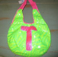 "Justice Neon Green animal Print girls Tote bag,purse Initial ""T"" pink NWTS"