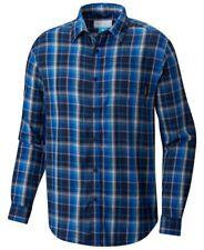 NEW $115 Columbia Men Blue White Plaid Stretch Long-Sleeve Button Shirt Size XL