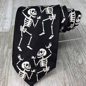 Keith Daniels Black 100% Silk Dancing Skeltons Ivory Necktie White Muertos