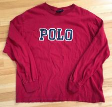 Vintage Ralph Lauren Polo Sport Spell Out Script Long Sleeve Shirt Large L Bear