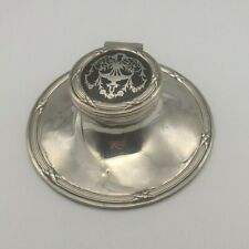 Lovely Antique Sterling Silver Inkwell -Tortoise Shell Lid - HM -Birmingham 1912