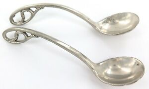 .HAND MADE / VINTAGE / HEAVY SET MATCHING PAIR STERLING SILVER SPOONS LADLES