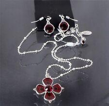 Vintage PILGRIM Flower Necklace & Earrings Silver SIAM Red Swarovski Enamel BNWT