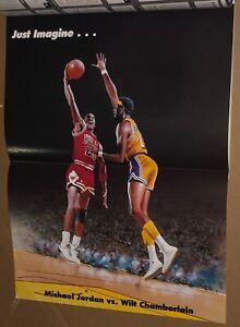 1991 MICHAEL JORDAN VS WILT CHAMBERLAIN POSTER Tuff Stuff Jr Uncut Cards NBA HOF