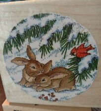 Bunnies in snow Qc, stampendous, Christmas etching, 171,rubber, wood